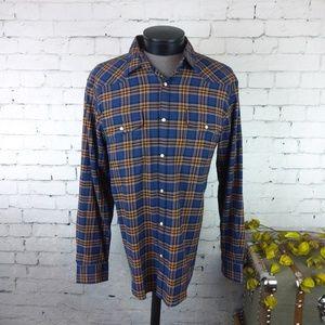 NWT Lucky Brand men's plaid pearl snap shirt